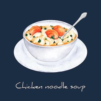 Concepto de sopa de fideos con pollo