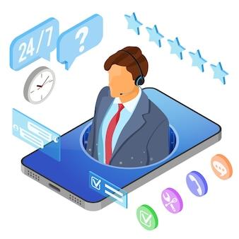 Concepto de soporte al cliente isométrico en línea. centro de llamadas móvil con consultor hombre, auriculares, chat.