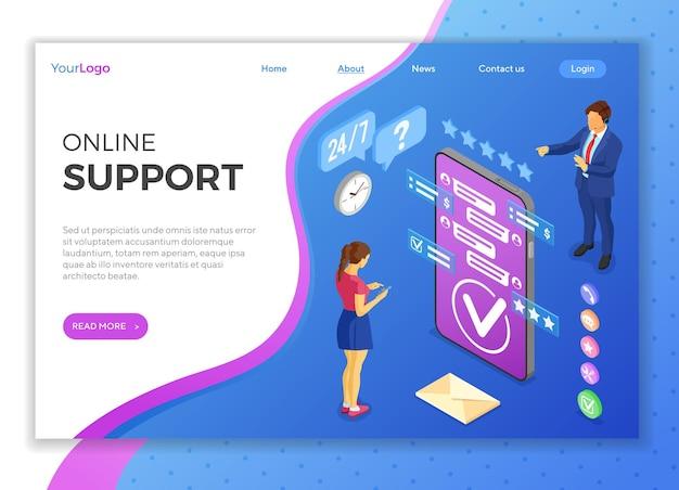 Concepto de soporte al cliente isométrico en línea. centro de llamadas móvil con consultor hombre, auriculares, clasificación, iconos de chat. plantilla de página de destino.