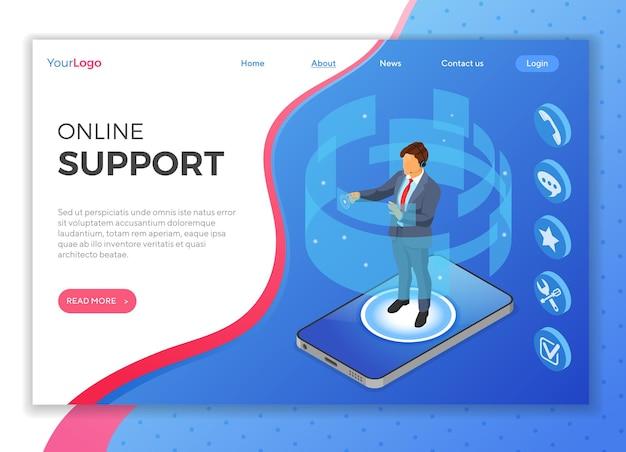 Concepto de soporte al cliente isométrico en línea. centro de llamadas móvil con consultor hombre, auriculares, iconos de chat, teléfono móvil. plantilla de página de destino. personas isométricas.