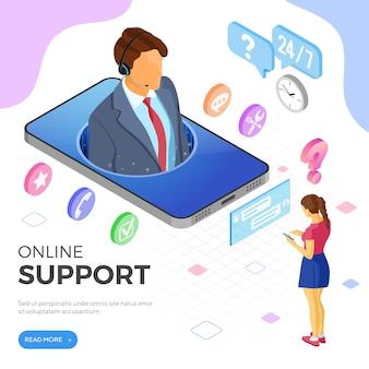 Concepto de soporte al cliente isométrico en línea. centro de llamadas móvil con consultor masculino, auriculares, iconos de chat. plantilla de página de destino. aislado