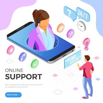 Concepto de soporte al cliente isométrico en línea.