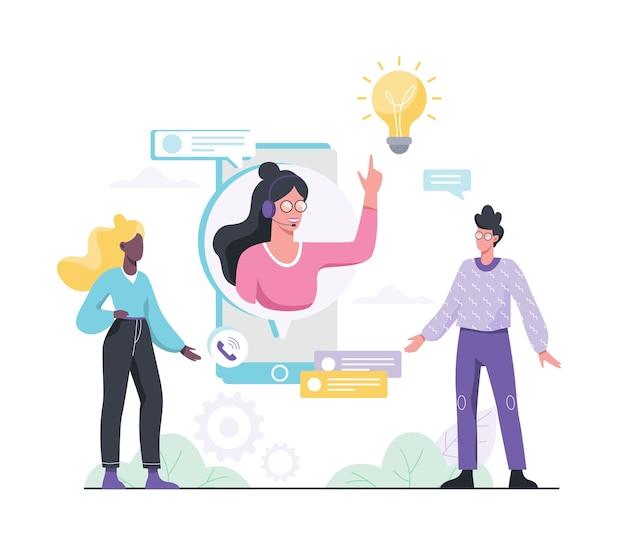 Concepto de soporte técnico. idea de servicio al cliente. apoye a los clientes y ayúdelos con sus problemas. proporcionar al cliente información valiosa. ilustración con estilo
