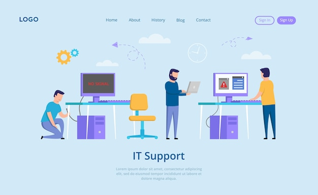 Concepto de soporte de ti. ningún mensaje de señal en la pantalla, gente molesta y computadora desconectada. el reparador de soporte de ti ayuda a resolver los problemas con la conexión a internet. en estilo plano.