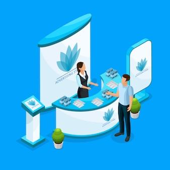 Concepto de soportes de publicidad isométrica con trabajador que consulta al cliente sobre productos en equipos de demostración aislados