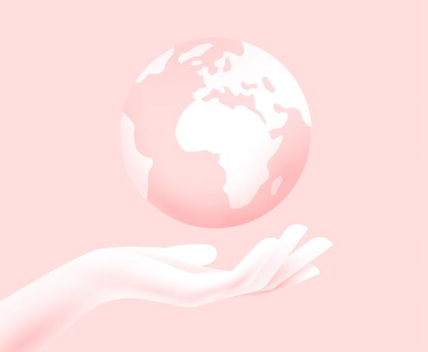 Concepto de sostenibilidad mundial. silueta de la mano con el planeta tierra arriba. salvar el concepto del mundo. ilustración.
