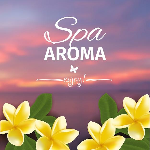 Concepto de spa con fondo borroso junto al mar y frangipani realista