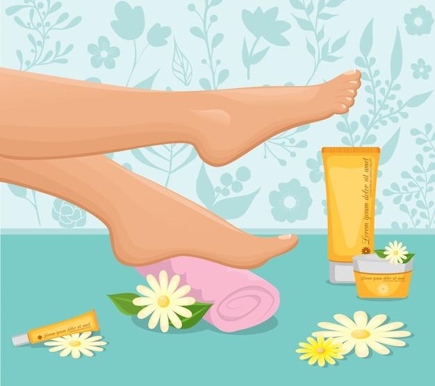 Concepto de spa de pies femeninos