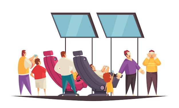 Concepto de stand de expo con ilustración plana de símbolos de espacio de juego