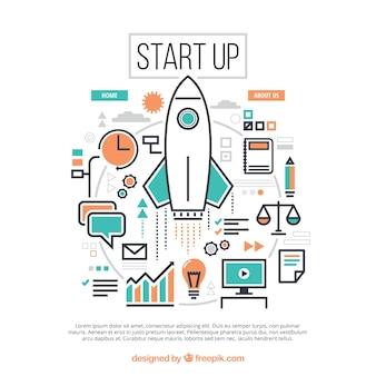 Concepto de start up con cohete y elementos