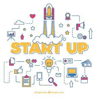 Concepto de start up con cohete con varios elementos