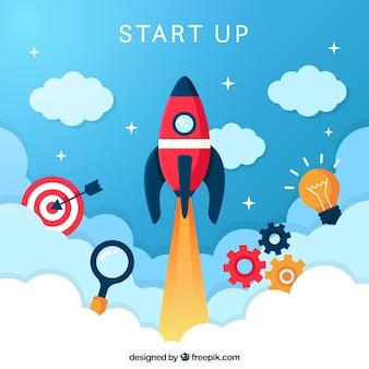 Concepto de start up con cohete