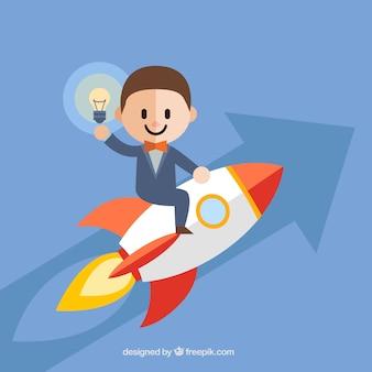 Concepto de start up con hombre en cohete