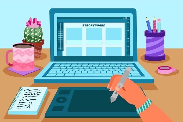 Concepto de storyboard con laptop