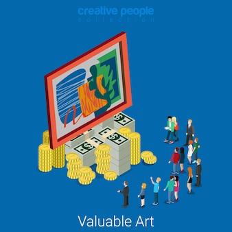 Concepto de subasta de cultura isométrica plana de arte valioso imagen en el marco de un enorme montón de billetes de dólar de moneda simbólica su precio de alto valor.