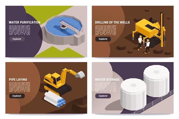 Concepto de suministro de agua 4 banner isométrico