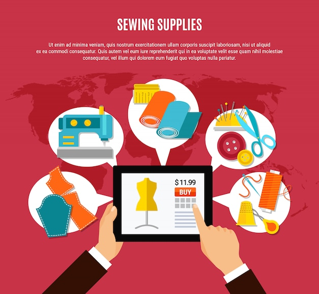Concepto de suministros de costura