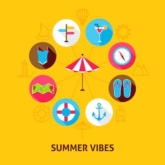 Concepto summer vibes. ilustración de vector de círculo de infografías de vacaciones de mar con iconos planos.