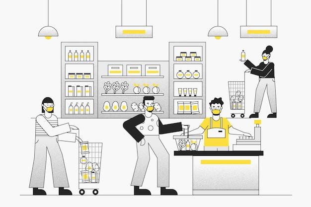 Concepto de supermercado coronavirus