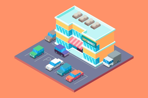 Concepto de supermercado isométrica