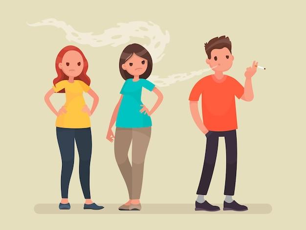 Concepto de tabaquismo pasivo. descontento de personas no fumadoras. en un estilo plano
