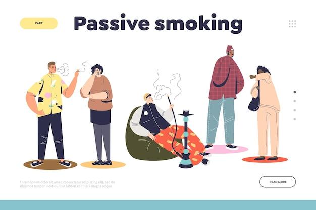 Concepto de tabaquismo pasivo de página de destino con personas de pie cerca de hombres con narguile