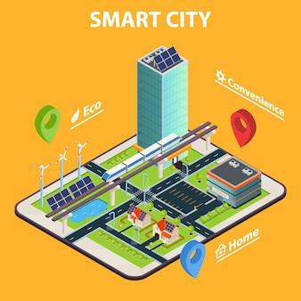 Concepto de tableta smart city