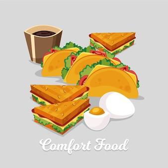 Concepto de tacos y sandwich