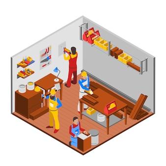 Concepto de taller de carpintería