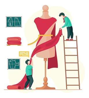 Concepto de taller de costura con diseñadores