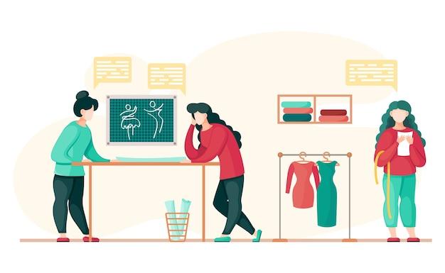 Concepto de taller de costura, personas que trabajan con patrón de vestido de sastre