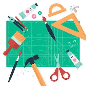 Concepto de taller creativo de bricolaje con herramientas