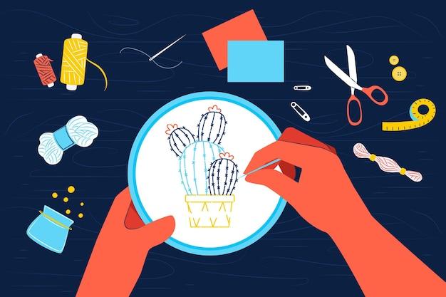 Concepto de taller creativo de bricolaje con manos cosiendo