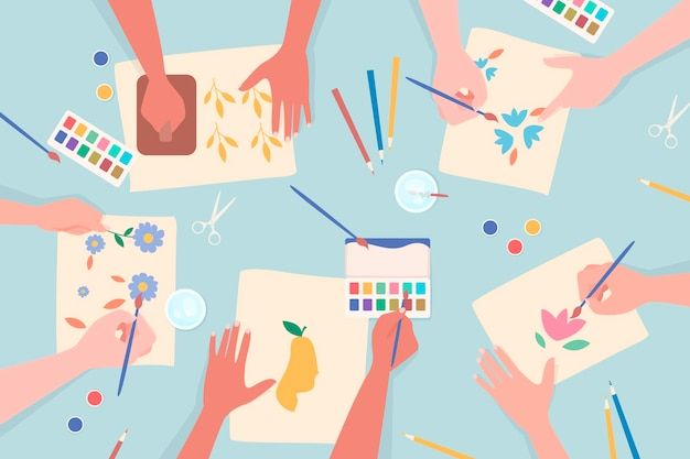 Concepto de taller creativo de bricolaje con manos pintando