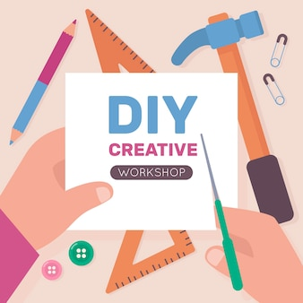Concepto de taller creativo de bricolaje con las manos con tijeras