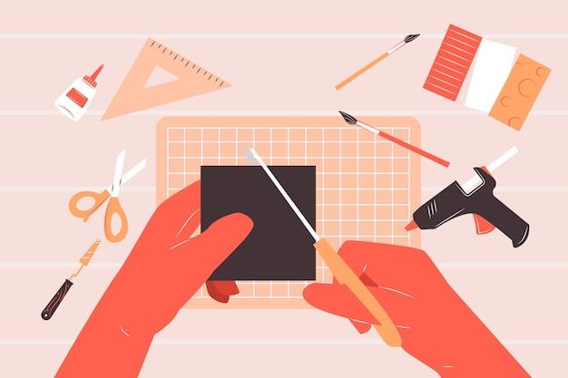 Concepto de taller creativo de bricolaje con manos usando ilustración de tijeras