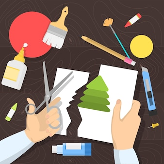 Concepto de taller. idea de educación y creatividad. mejora de habilidades creativas y lecciones de arte. ilustración en estilo de dibujos animados