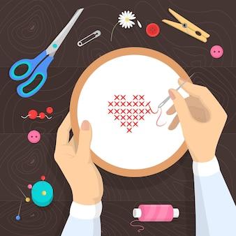 Concepto de taller. idea de educación y creatividad. mejora de habilidades creativas y lecciones de arte. lección de bordado. ilustración en estilo de dibujos animados