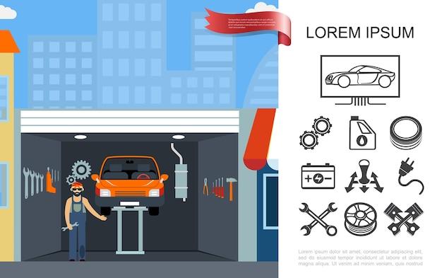 Concepto de taller de mantenimiento automático plano