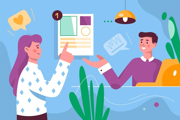 Concepto de tarea y hablar con compañeros de trabajo