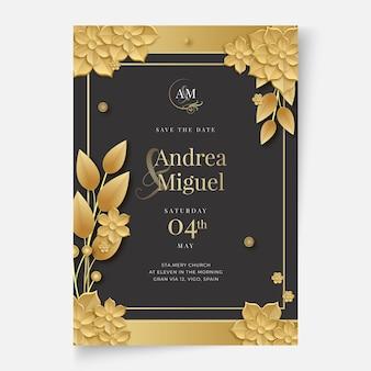 Concepto de tarjeta de boda floral