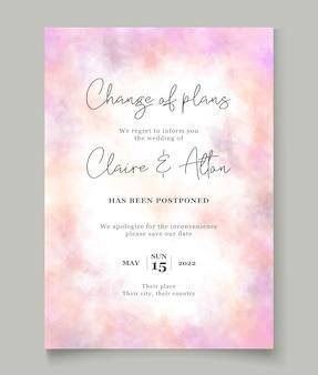 Concepto de tarjeta de boda pospuesta minimalis
