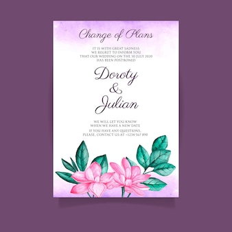 Concepto de tarjeta de boda pospuesto acuarela