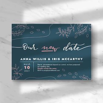 Concepto de tarjeta de boda pospuesto