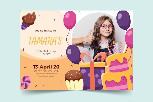 Concepto de tarjeta de cumpleaños para niños