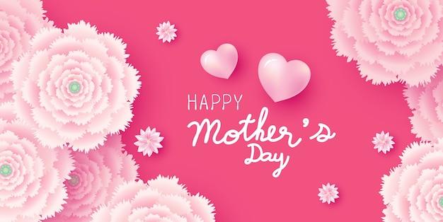 Concepto de tarjeta del día de la madre de flores rosadas