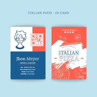 Concepto de tarjeta de identificación de comida italiana