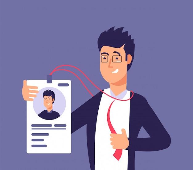 Concepto de tarjeta de identificación. hombre empleado con cédula de identidad.