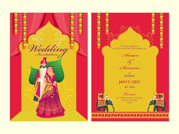 Concepto de tarjeta de invitación de boda