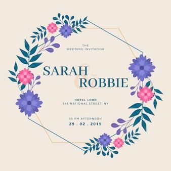 Concepto de tarjeta de invitación de marco floral de boda